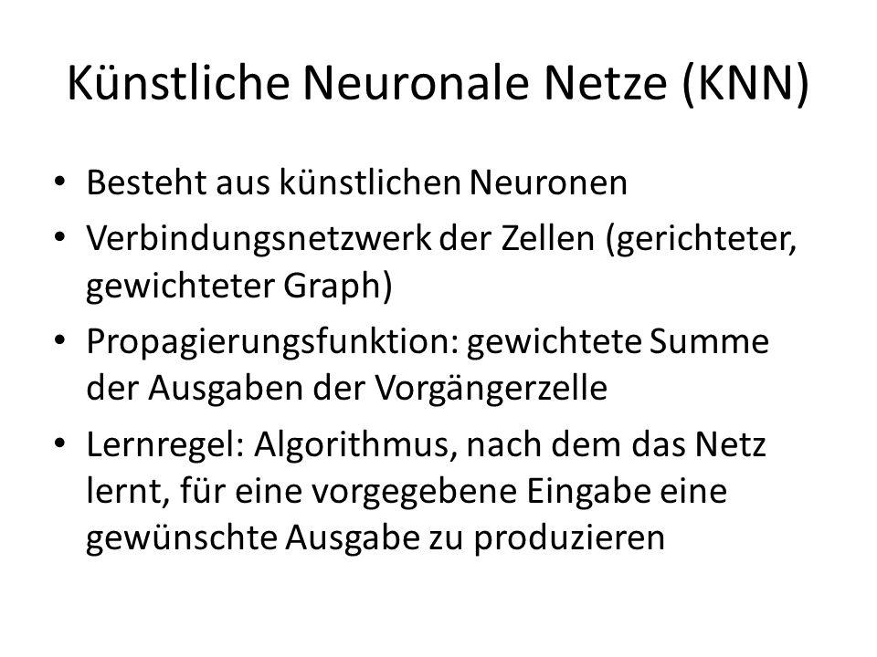 Künstliche Neuronale Netze (KNN) Besteht aus künstlichen Neuronen Verbindungsnetzwerk der Zellen (gerichteter, gewichteter Graph) Propagierungsfunktio