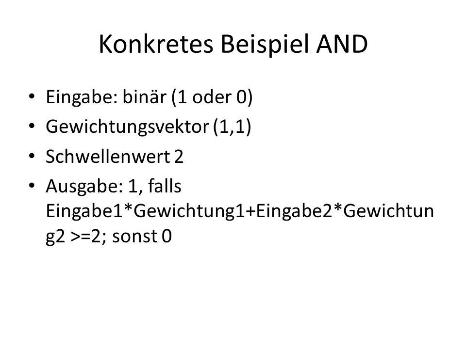 Eingabe: binär (1 oder 0) Gewichtungsvektor (1,1) Schwellenwert 2 Ausgabe: 1, falls Eingabe1*Gewichtung1+Eingabe2*Gewichtun g2 >=2; sonst 0