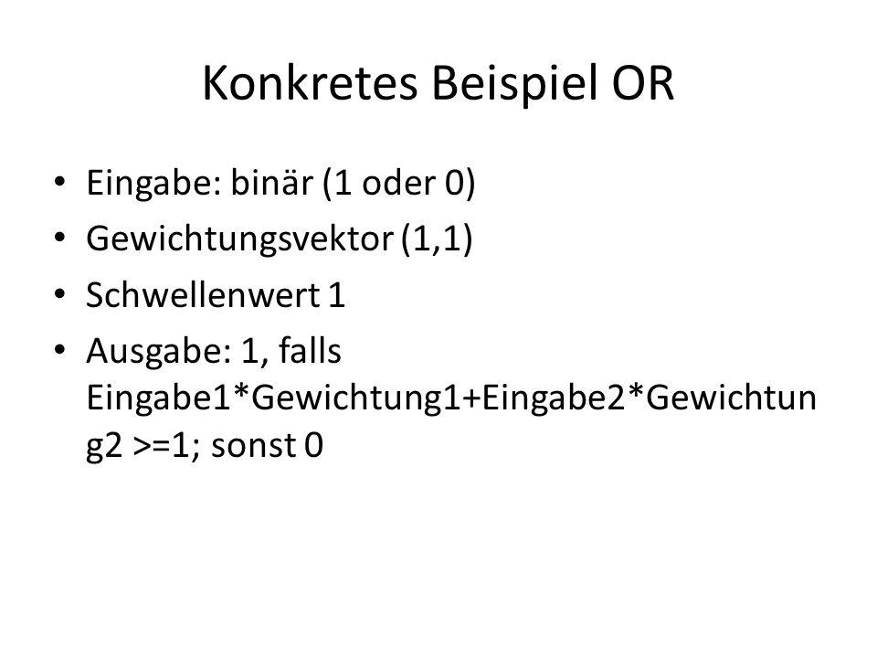 Eingabe: binär (1 oder 0) Gewichtungsvektor (1,1) Schwellenwert 1 Ausgabe: 1, falls Eingabe1*Gewichtung1+Eingabe2*Gewichtun g2 >=1; sonst 0