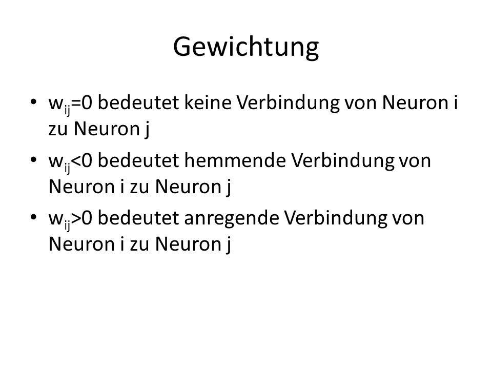 Gewichtung w ij =0 bedeutet keine Verbindung von Neuron i zu Neuron j w ij <0 bedeutet hemmende Verbindung von Neuron i zu Neuron j w ij >0 bedeutet a