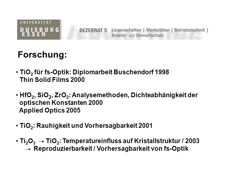 Forschung: TiO 2 für fs-Optik: Diplomarbeit Buschendorf 1998 Thin Solid Films 2000 HfO 2, SiO 2, ZrO 2 : Analysemethoden, Dichteabhänigkeit der optischen Konstanten 2000 Applied Optics 2005 TiO 2 : Rauhigkeit und Vorhersagbarkeit 2001 Ti 2 O 3 TiO 2 : Temperatureinfluss auf Kristallstruktur / 2003 Reproduzierbarkeit / Vorhersagbarkeit von fs-Optik