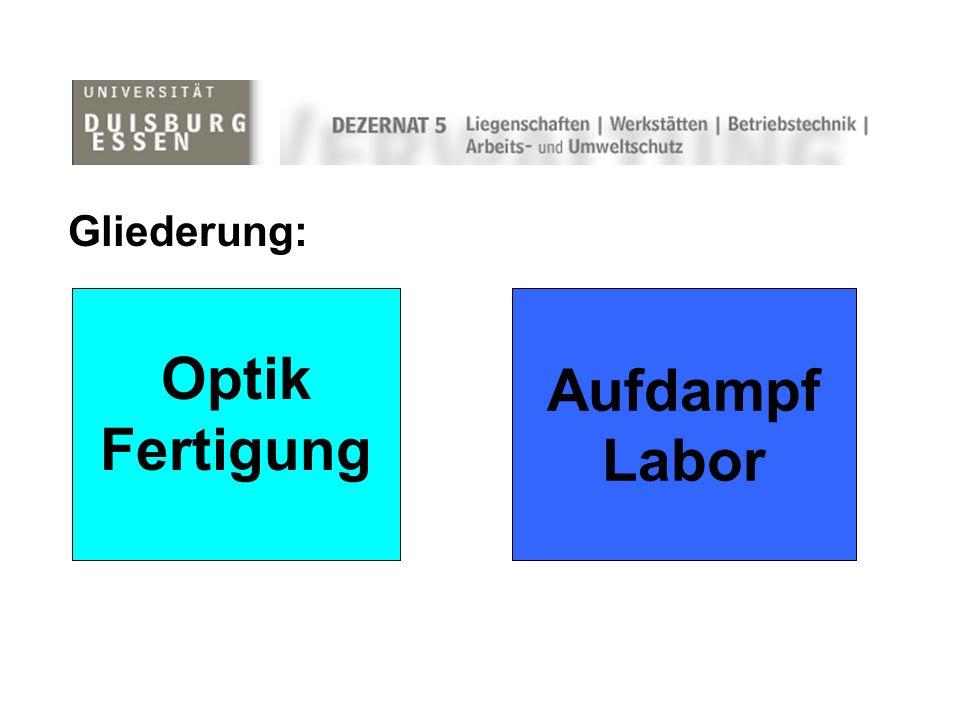 Aufdampf Labor Optik Fertigung Gliederung: