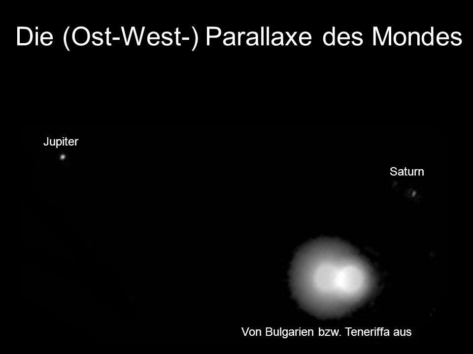 Die (Ost-West-) Parallaxe des Mondes Jupiter Saturn Von Bulgarien bzw. Teneriffa aus