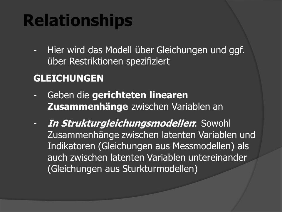 Relationships -Hier wird das Modell über Gleichungen und ggf. über Restriktionen spezifiziert GLEICHUNGEN -Geben die gerichteten linearen Zusammenhäng