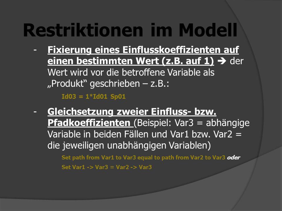 Restriktionen im Modell -Fixierung eines Einflusskoeffizienten auf einen bestimmten Wert (z.B. auf 1) der Wert wird vor die betroffene Variable als Pr