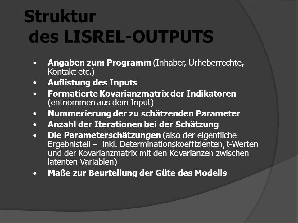 Struktur des LISREL-OUTPUTS Angaben zum Programm (Inhaber, Urheberrechte, Kontakt etc.) Auflistung des Inputs Formatierte Kovarianzmatrix der Indikatoren (entnommen aus dem Input) Nummerierung der zu schätzenden Parameter Anzahl der Iterationen bei der Schätzung Die Parameterschätzungen (also der eigentliche Ergebnisteil – inkl.