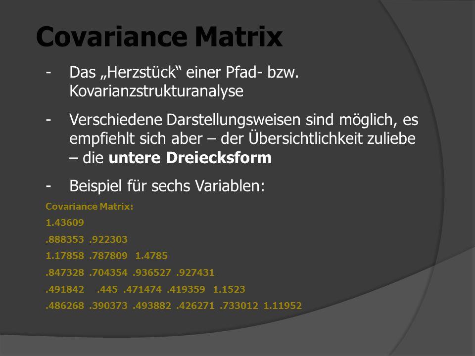 Covariance Matrix -Das Herzstück einer Pfad- bzw. Kovarianzstrukturanalyse -Verschiedene Darstellungsweisen sind möglich, es empfiehlt sich aber – der