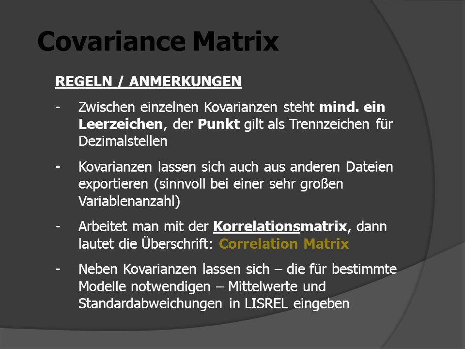 Covariance Matrix REGELN / ANMERKUNGEN -Zwischen einzelnen Kovarianzen steht mind. ein Leerzeichen, der Punkt gilt als Trennzeichen für Dezimalstellen