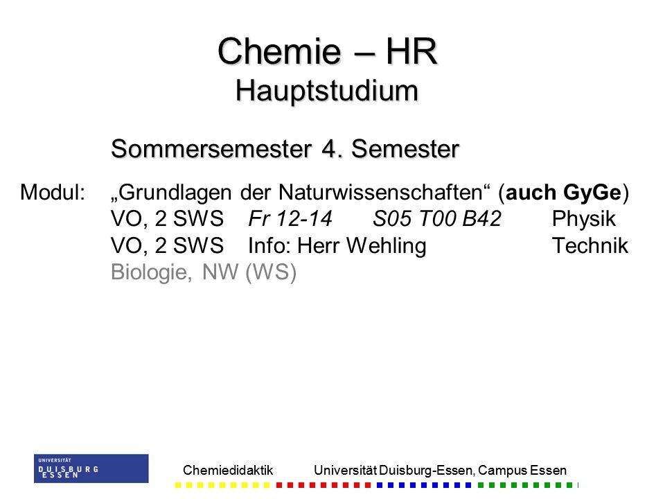 Chemiedidaktik Universität Duisburg-Essen, Campus Essen Sommersemester 4. Semester Modul:Grundlagen der Naturwissenschaften (auch GyGe) VO, 2 SWSFr 12