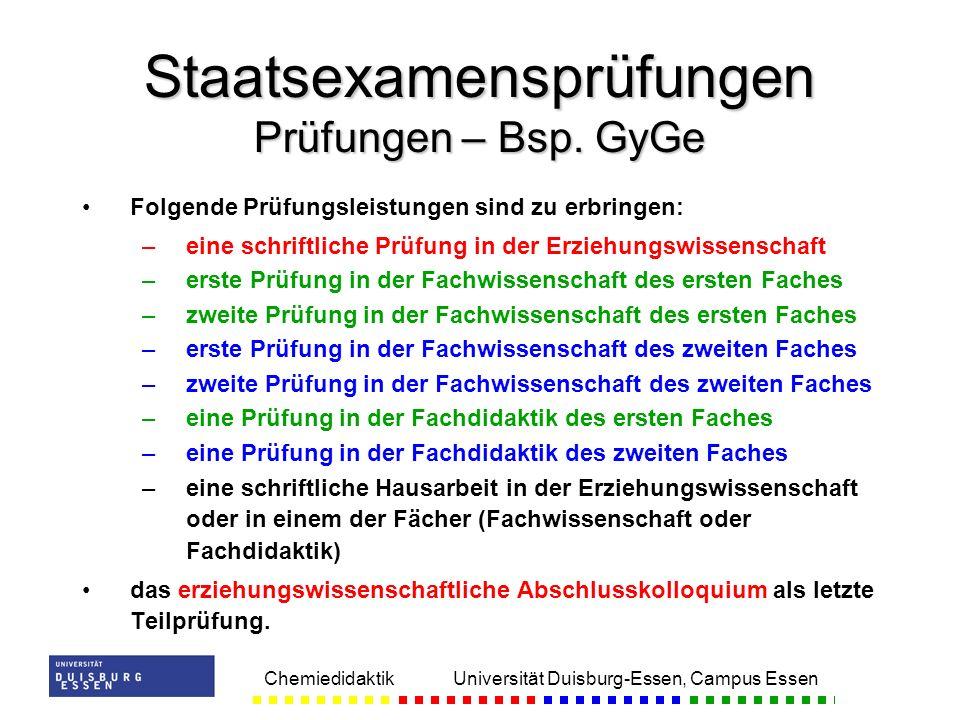 Chemiedidaktik Universität Duisburg-Essen, Campus Essen Folgende Prüfungsleistungen sind zu erbringen: – –eine schriftliche Prüfung in der Erziehungsw
