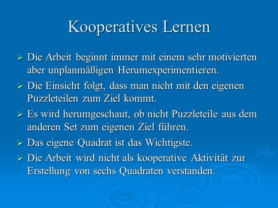Kooperatives Lernen Die Arbeit beginnt immer mit einem sehr motivierten aber unplanmäßigen Herumexperimentieren. Die Arbeit beginnt immer mit einem se