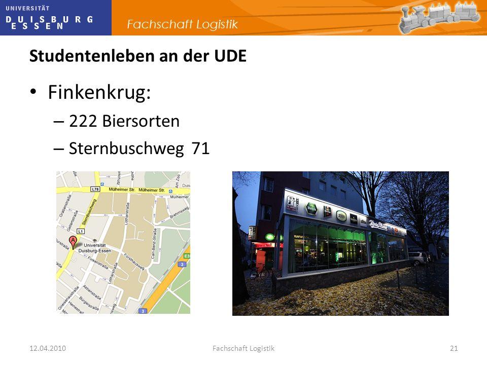 12.04.2010Fachschaft Logistik21 Studentenleben an der UDE Finkenkrug: – 222 Biersorten – Sternbuschweg 71