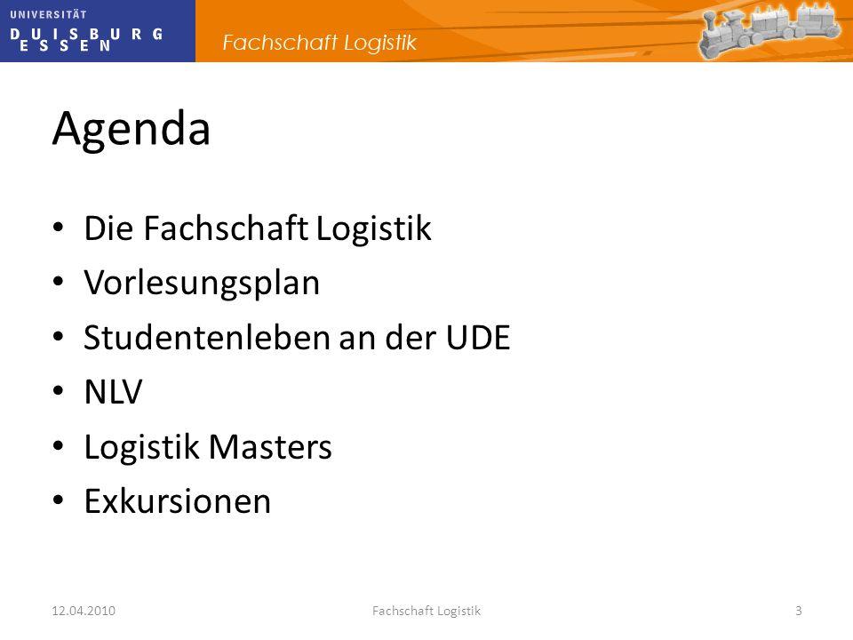 Agenda Die Fachschaft Logistik Vorlesungsplan Studentenleben an der UDE NLV Logistik Masters Exkursionen 12.04.2010Fachschaft Logistik3