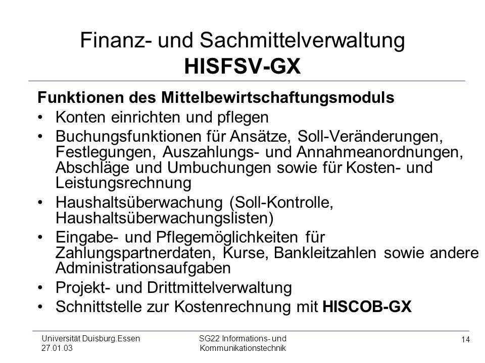 14 Universität Duisburg.Essen 27.01.03 SG22 Informations- und Kommunikationstechnik Finanz- und Sachmittelverwaltung HISFSV-GX Funktionen des Mittelbe