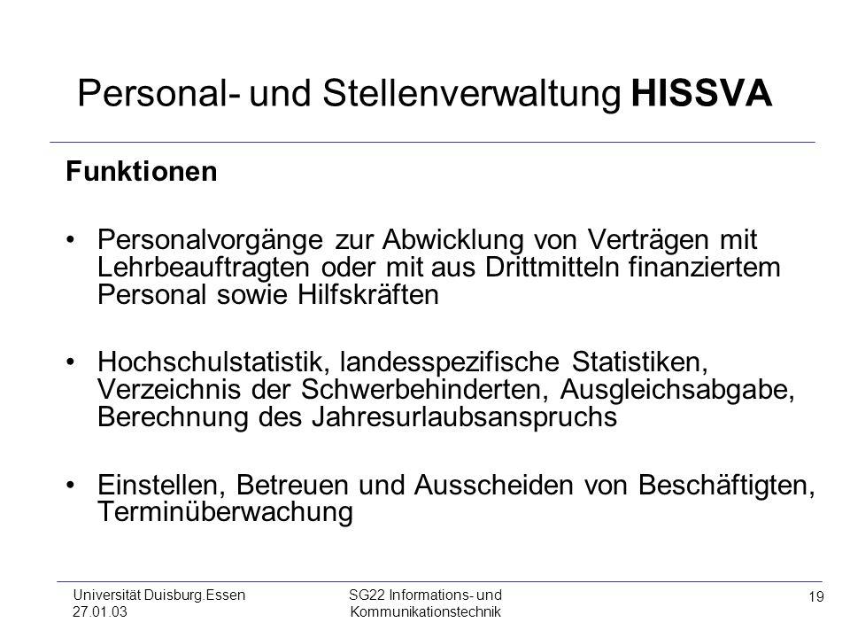 19 Universität Duisburg.Essen 27.01.03 SG22 Informations- und Kommunikationstechnik Personal- und Stellenverwaltung HISSVA Funktionen Personalvorgänge