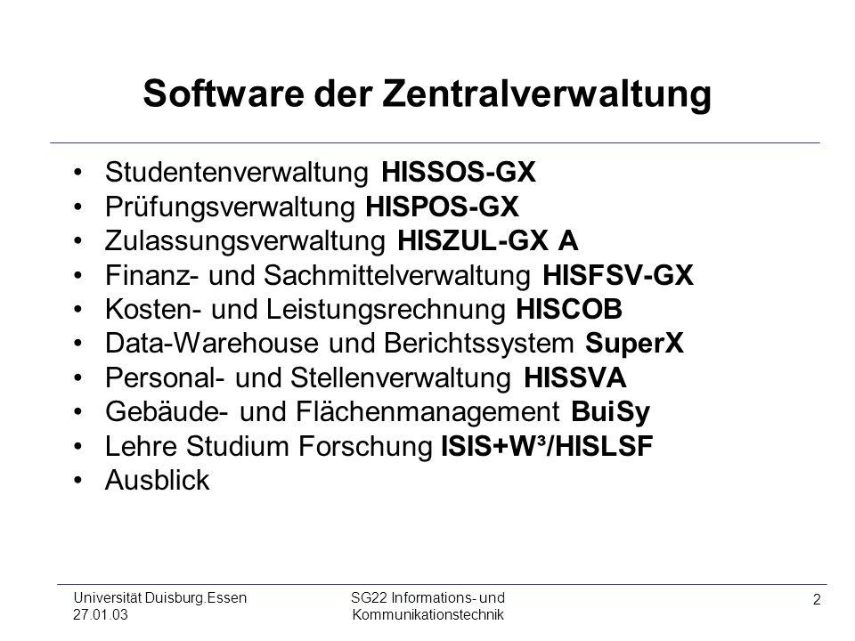2 Universität Duisburg.Essen 27.01.03 SG22 Informations- und Kommunikationstechnik Software der Zentralverwaltung Studentenverwaltung HISSOS-GX Prüfun