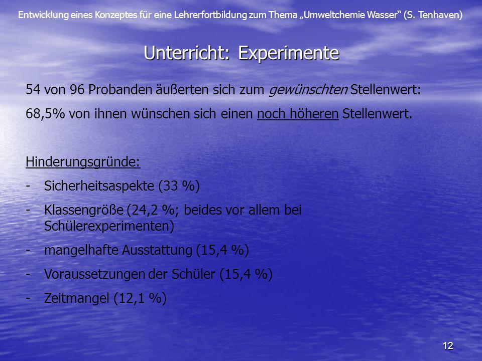 Entwicklung eines Konzeptes für eine Lehrerfortbildung zum Thema Umweltchemie Wasser (S. Tenhaven) 12 Unterricht: Experimente 54 von 96 Probanden äuße