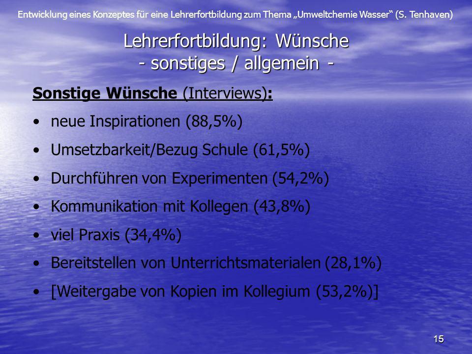 Entwicklung eines Konzeptes für eine Lehrerfortbildung zum Thema Umweltchemie Wasser (S. Tenhaven) 15 Lehrerfortbildung: Wünsche - sonstiges / allgeme