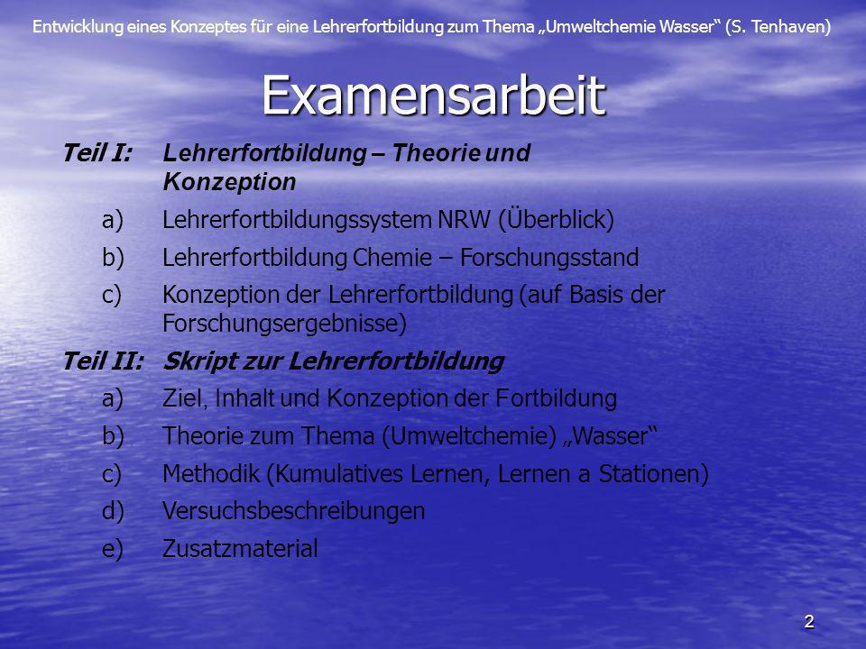 Entwicklung eines Konzeptes für eine Lehrerfortbildung zum Thema Umweltchemie Wasser (S. Tenhaven) 2 Examensarbeit Teil I: Lehrerfortbildung – Theorie