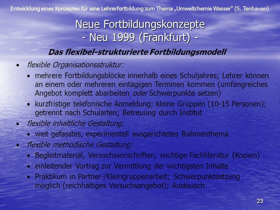Entwicklung eines Konzeptes für eine Lehrerfortbildung zum Thema Umweltchemie Wasser (S. Tenhaven) 23 Neue Fortbildungskonzepte - Neu 1999 (Frankfurt)