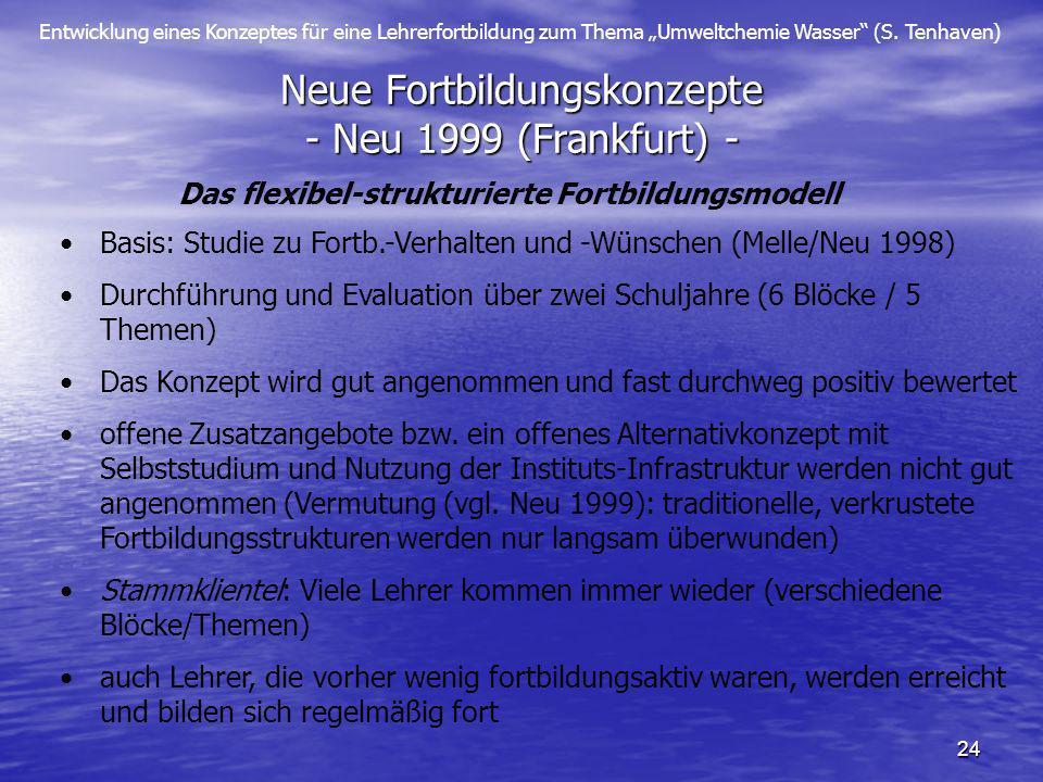 Entwicklung eines Konzeptes für eine Lehrerfortbildung zum Thema Umweltchemie Wasser (S. Tenhaven) 24 Neue Fortbildungskonzepte - Neu 1999 (Frankfurt)