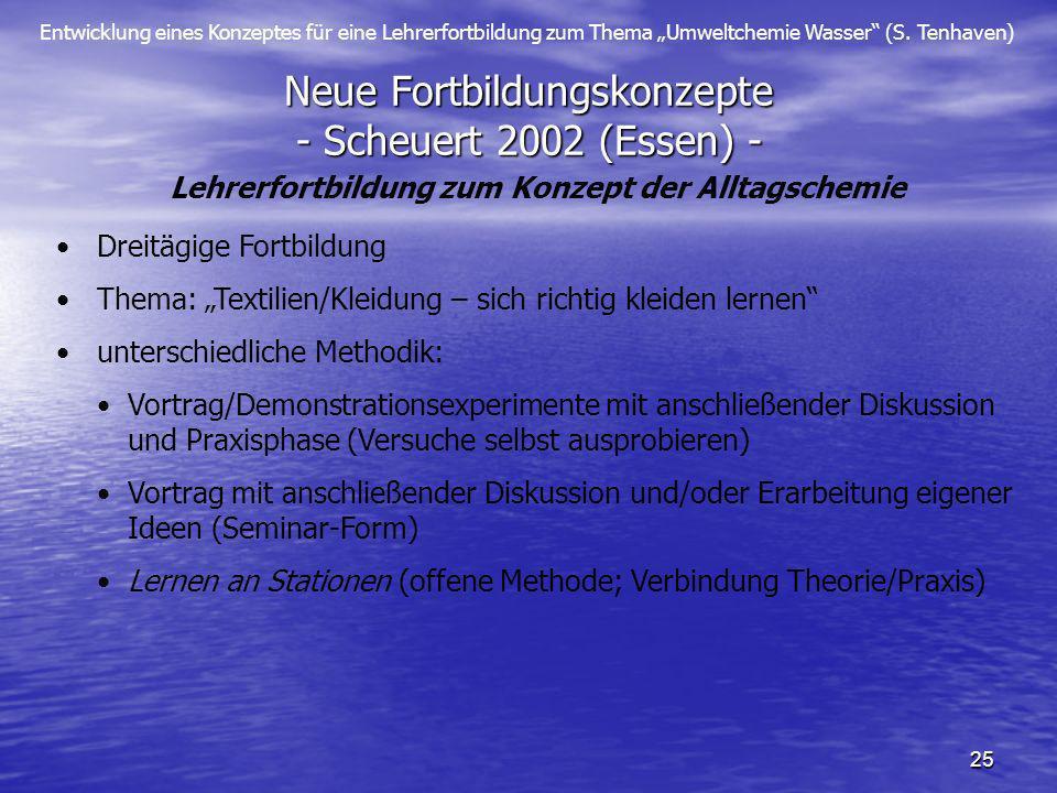 Entwicklung eines Konzeptes für eine Lehrerfortbildung zum Thema Umweltchemie Wasser (S. Tenhaven) 25 Neue Fortbildungskonzepte - Scheuert 2002 (Essen