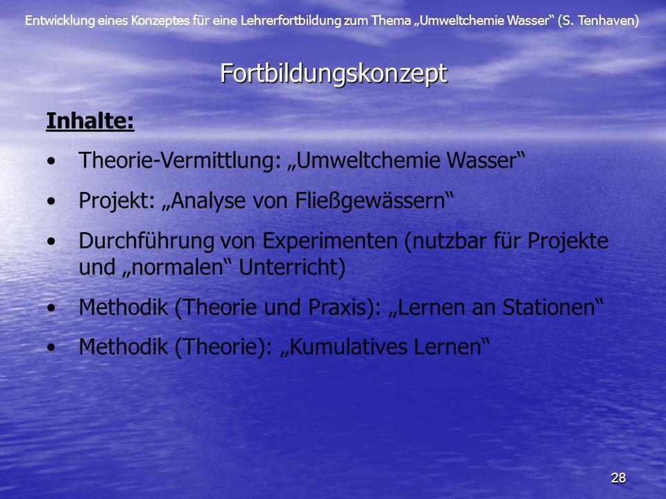 Entwicklung eines Konzeptes für eine Lehrerfortbildung zum Thema Umweltchemie Wasser (S. Tenhaven) 28 Fortbildungskonzept Inhalte: Theorie-Vermittlung