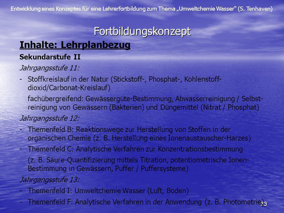 Entwicklung eines Konzeptes für eine Lehrerfortbildung zum Thema Umweltchemie Wasser (S. Tenhaven) 33 Fortbildungskonzept Inhalte: Lehrplanbezug Sekun