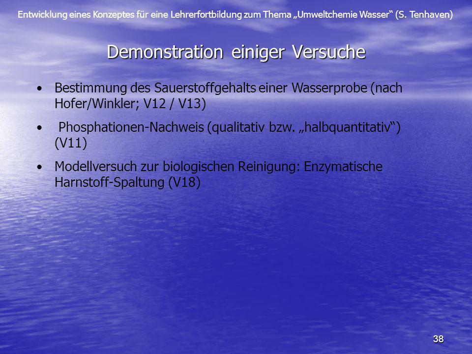 Entwicklung eines Konzeptes für eine Lehrerfortbildung zum Thema Umweltchemie Wasser (S. Tenhaven) 38 Demonstration einiger Versuche Bestimmung des Sa