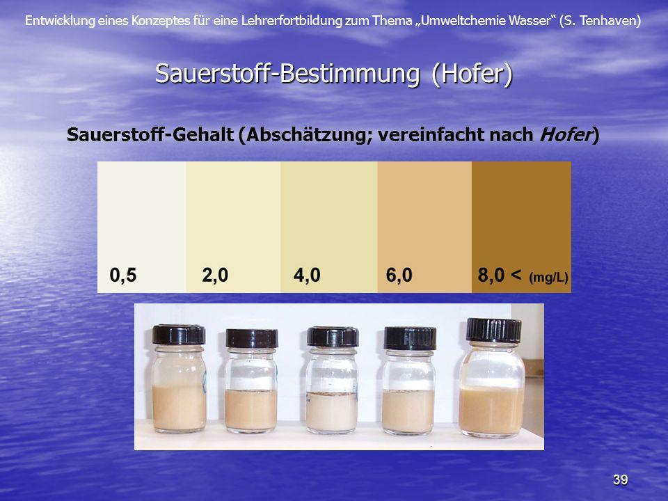 Entwicklung eines Konzeptes für eine Lehrerfortbildung zum Thema Umweltchemie Wasser (S. Tenhaven) 39 Sauerstoff-Bestimmung (Hofer) Sauerstoff-Gehalt