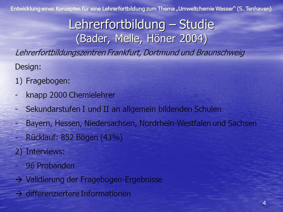 Entwicklung eines Konzeptes für eine Lehrerfortbildung zum Thema Umweltchemie Wasser (S. Tenhaven) 4 Lehrerfortbildung – Studie (Bader, Melle, Höner 2