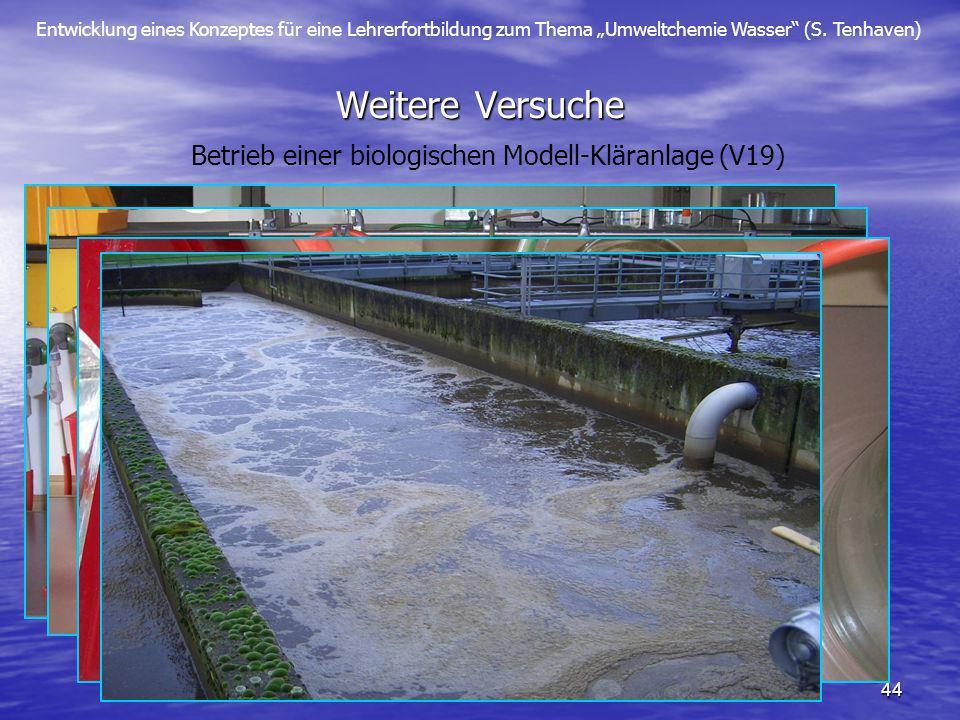 Entwicklung eines Konzeptes für eine Lehrerfortbildung zum Thema Umweltchemie Wasser (S. Tenhaven) 44 Weitere Versuche Betrieb einer biologischen Mode