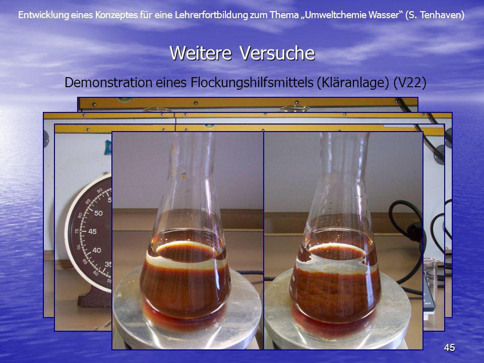 Entwicklung eines Konzeptes für eine Lehrerfortbildung zum Thema Umweltchemie Wasser (S. Tenhaven) 45 Weitere Versuche Demonstration eines Flockungshi