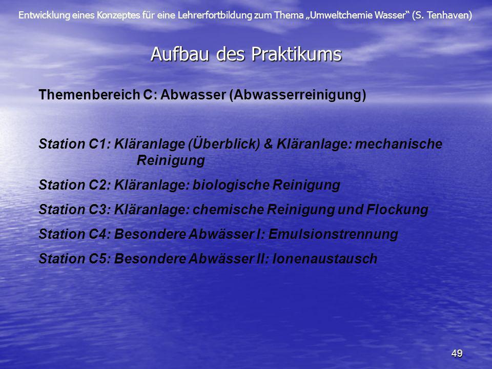 Entwicklung eines Konzeptes für eine Lehrerfortbildung zum Thema Umweltchemie Wasser (S. Tenhaven) 49 Aufbau des Praktikums Themenbereich C: Abwasser