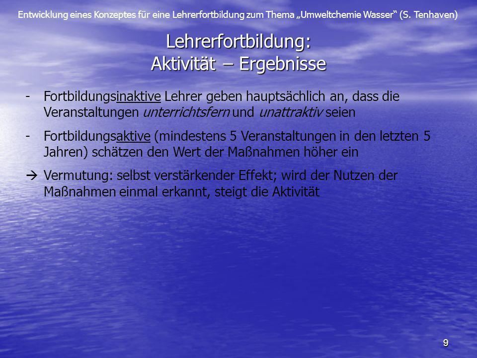 Entwicklung eines Konzeptes für eine Lehrerfortbildung zum Thema Umweltchemie Wasser (S. Tenhaven) 9 Lehrerfortbildung: Aktivität – Ergebnisse -Fortbi