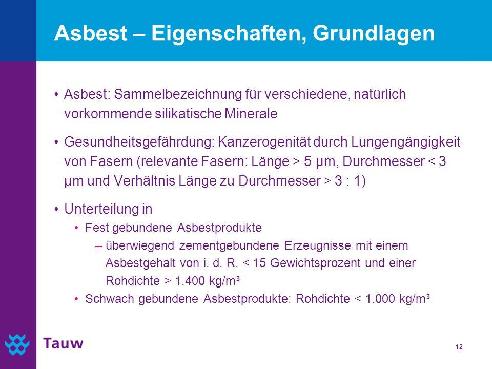 12 Asbest – Eigenschaften, Grundlagen Asbest: Sammelbezeichnung für verschiedene, natürlich vorkommende silikatische Minerale Gesundheitsgefährdung: K