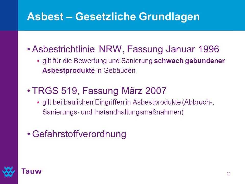 13 Asbest – Gesetzliche Grundlagen Asbestrichtlinie NRW, Fassung Januar 1996 gilt für die Bewertung und Sanierung schwach gebundener Asbestprodukte in
