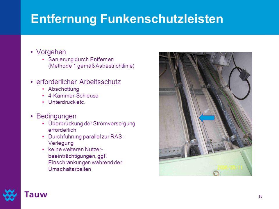 15 Entfernung Funkenschutzleisten Vorgehen Sanierung durch Entfernen (Methode 1 gemäß Asbestrichtlinie) erforderlicher Arbeitsschutz Abschottung 4-Kam