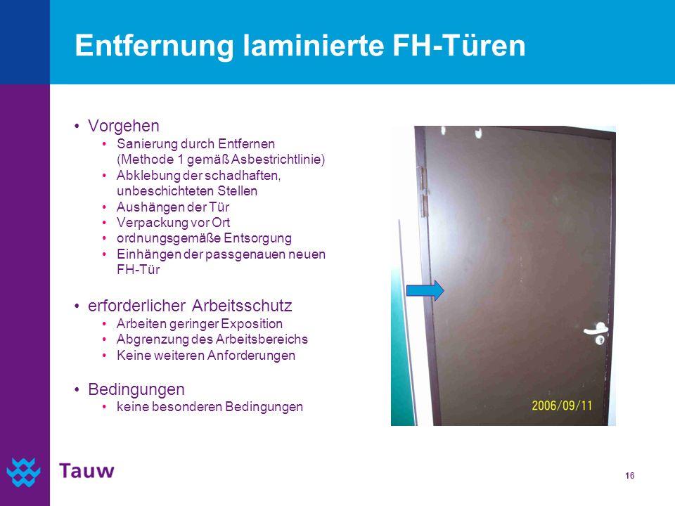 16 Entfernung laminierte FH-Türen Vorgehen Sanierung durch Entfernen (Methode 1 gemäß Asbestrichtlinie) Abklebung der schadhaften, unbeschichteten Ste