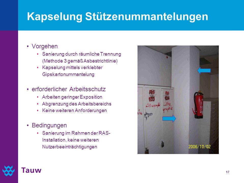 17 Kapselung Stützenummantelungen Vorgehen Sanierung durch räumliche Trennung (Methode 3 gemäß Asbestrichtlinie) Kapselung mittels verklebter Gipskart