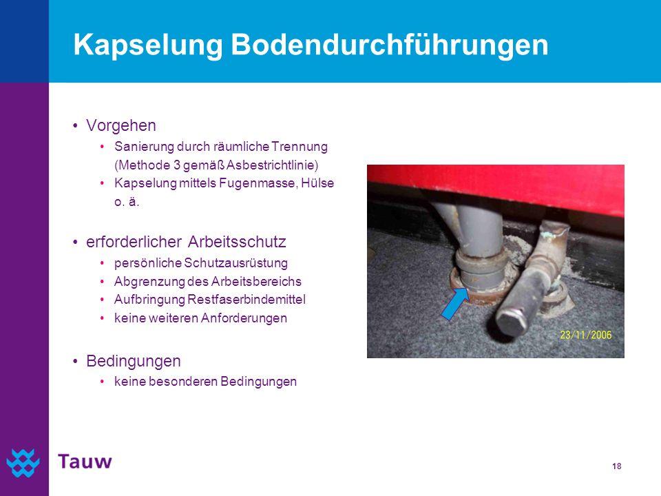18 Kapselung Bodendurchführungen Vorgehen Sanierung durch räumliche Trennung (Methode 3 gemäß Asbestrichtlinie) Kapselung mittels Fugenmasse, Hülse o.