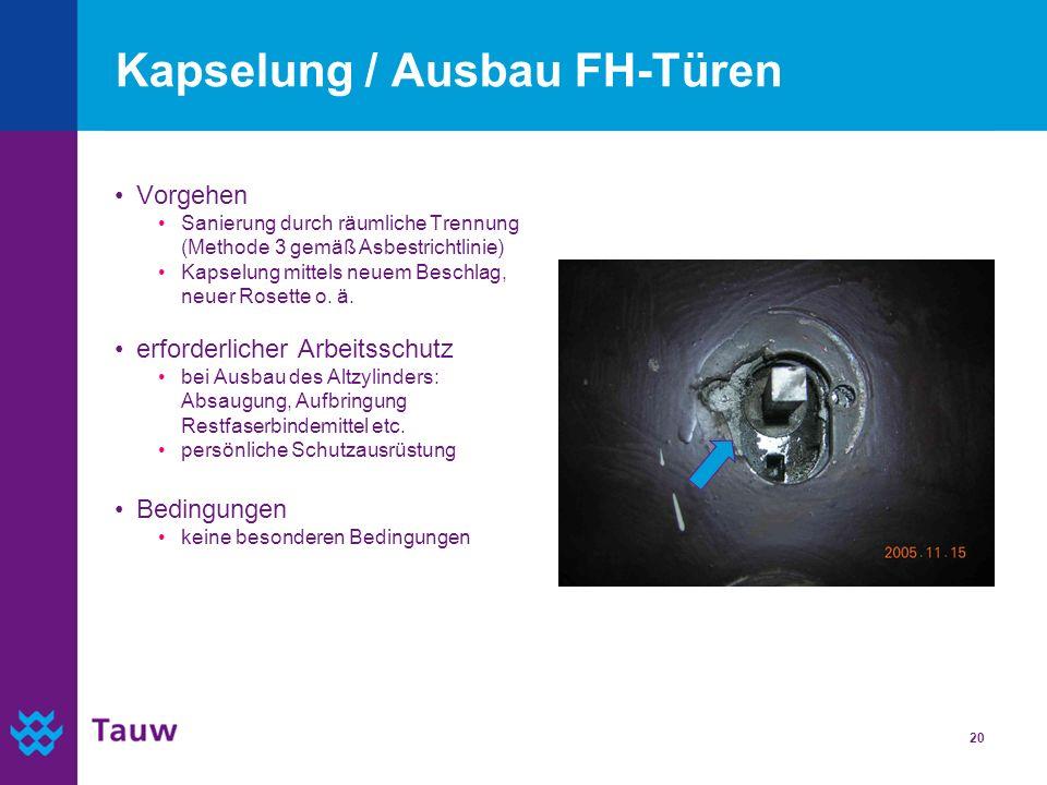 20 Kapselung / Ausbau FH-Türen Vorgehen Sanierung durch räumliche Trennung (Methode 3 gemäß Asbestrichtlinie) Kapselung mittels neuem Beschlag, neuer