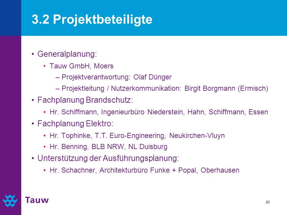 25 3.2 Projektbeteiligte Generalplanung: Tauw GmbH, Moers –Projektverantwortung: Olaf Dünger –Projektleitung / Nutzerkommunikation: Birgit Borgmann (E