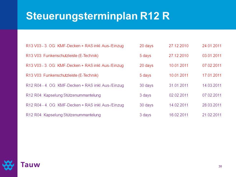 30 Steuerungsterminplan R12 R R13 V03 - 3. OG: KMF-Decken + RAS inkl. Aus-/Einzug20 days27.12.201024.01.2011 R13 V03: Funkenschutzleiste (E-Technik)5