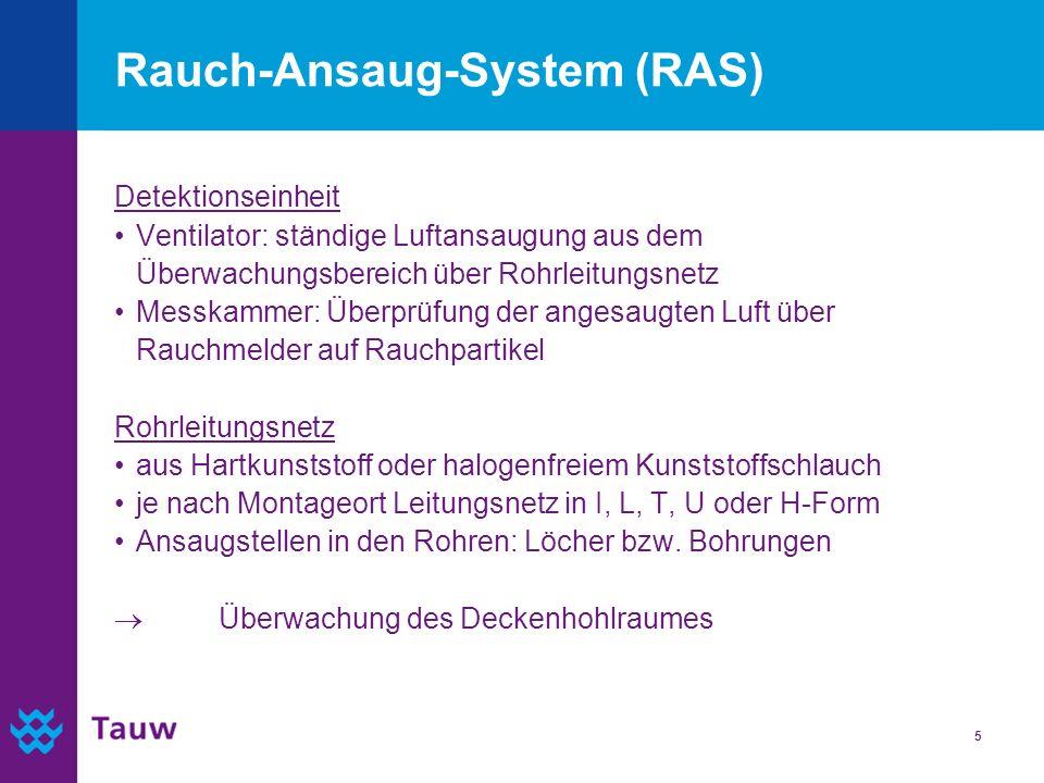 5 Rauch-Ansaug-System (RAS) Detektionseinheit Ventilator: ständige Luftansaugung aus dem Überwachungsbereich über Rohrleitungsnetz Messkammer: Überprü