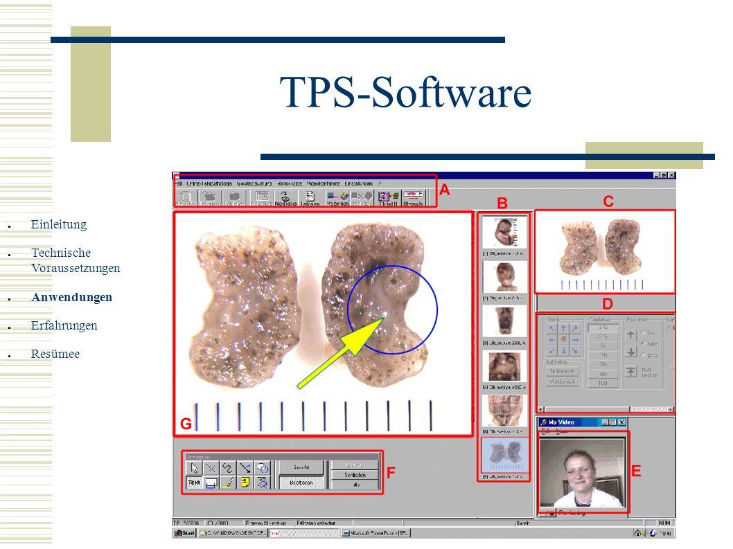 TPS-Software Einleitung Technische Voraussetzungen Anwendungen Erfahrungen Resümee