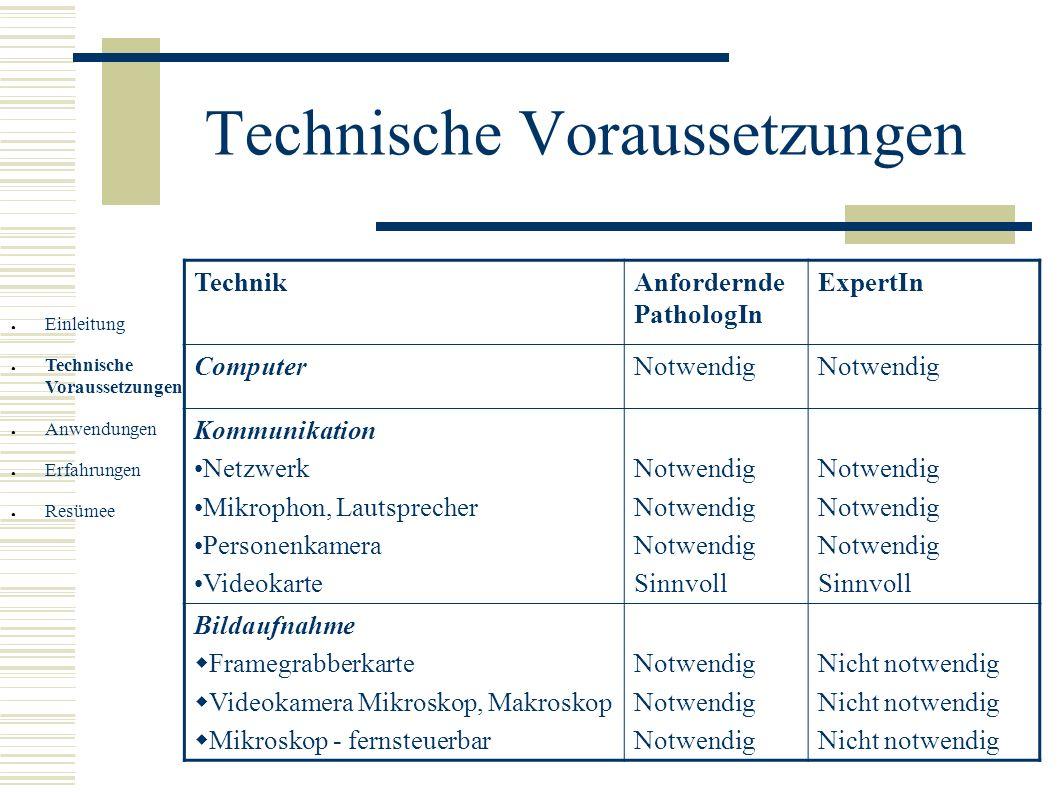 Technische Voraussetzungen Einleitung Technische Voraussetzungen Anwendungen Erfahrungen Resümee TechnikAnfordernde PathologIn ExpertIn ComputerNotwen
