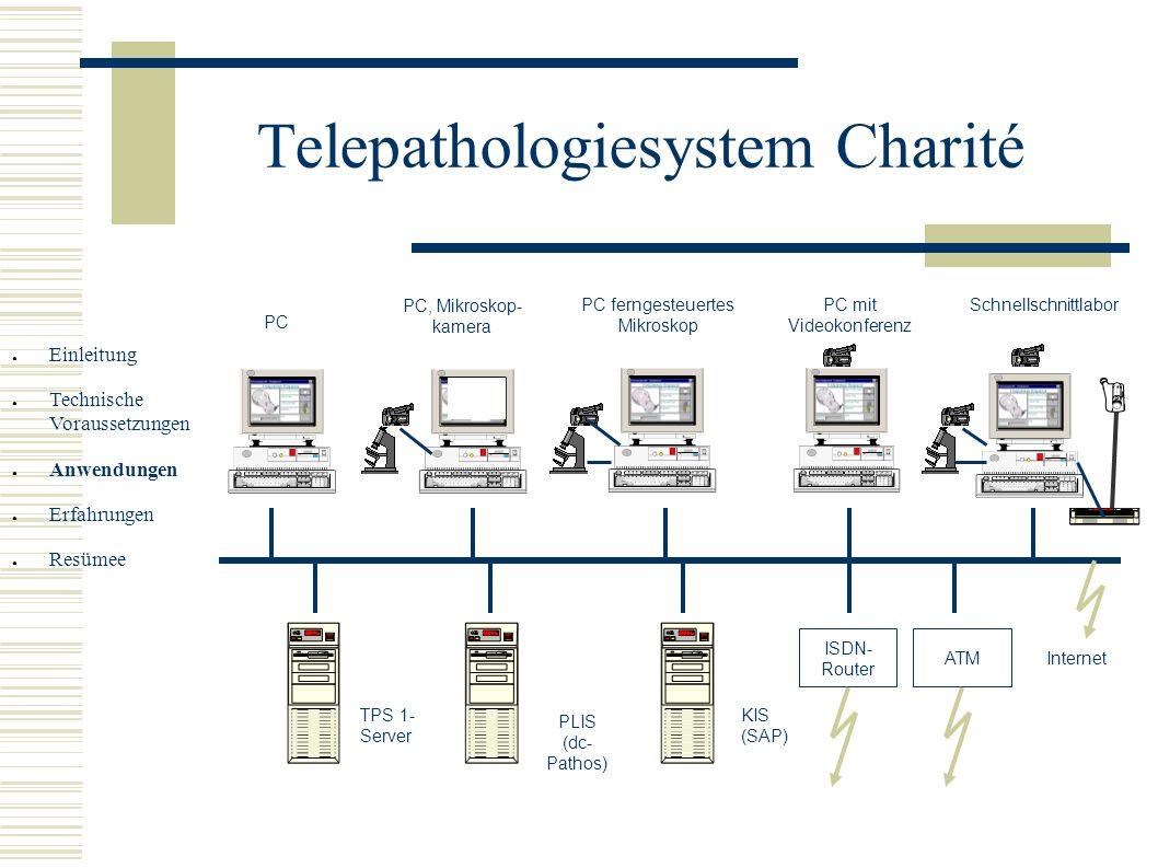 Telepathologiesystem Charité PC PC, Mikroskop- kamera Schnellschnittlabor KIS (SAP) PLIS (dc- Pathos) TPS 1- Server ISDN- Router Internet ATM PC ferng