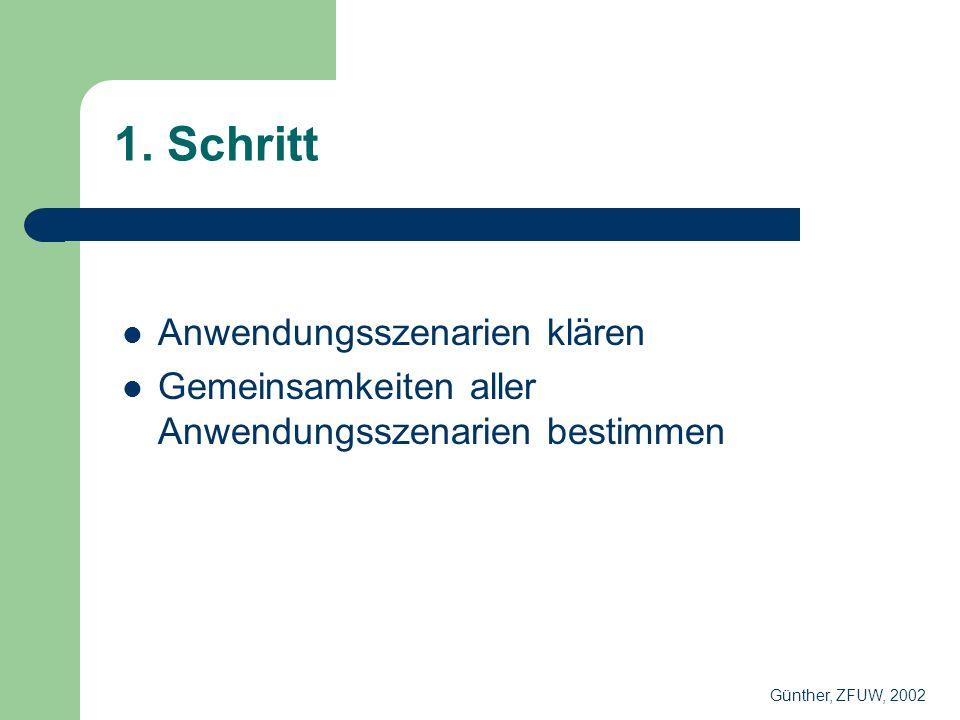 1. Schritt Anwendungsszenarien klären Gemeinsamkeiten aller Anwendungsszenarien bestimmen Günther, ZFUW, 2002
