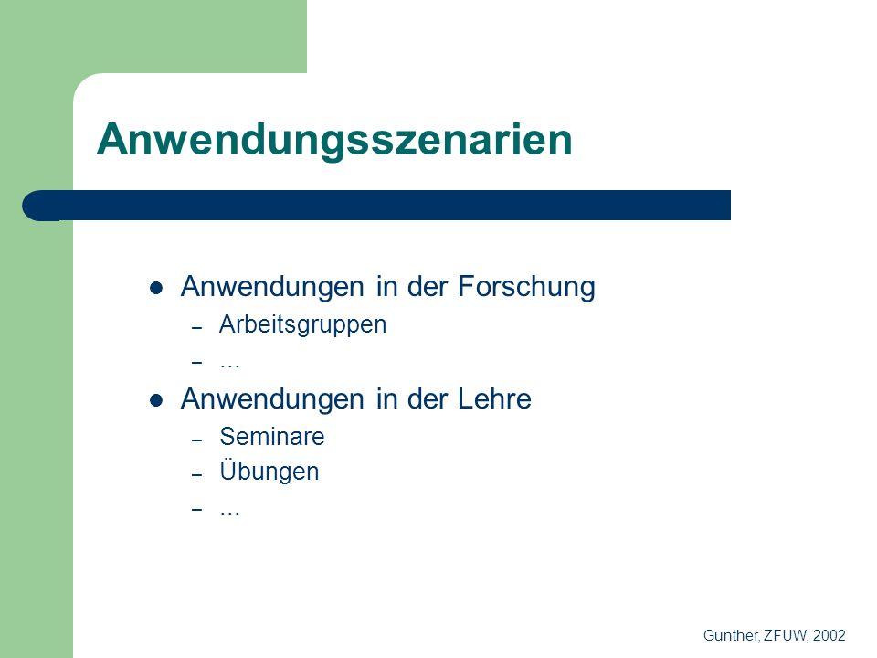 Anwendungsszenarien Anwendungen in der Forschung – Arbeitsgruppen –...